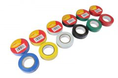 12 Rolls Amtech Insulation Tape Professional - 19mm x 18.3m Various Colours