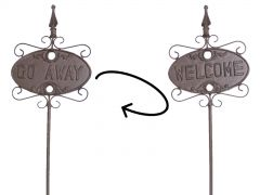 Welcome (on front)  Go Away (on back)  - 1 Long Garden Lawn Stake Cast Iron