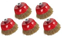 5pce Hilka Wire Cup Angle Grinder Brush - 4 inch 100mm Brass Crimped 51960104