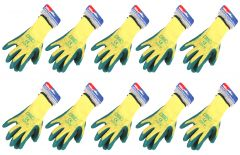 10 Pairs Hilka Gloves - Latex Green Coated - Size 8 Small 75504508