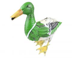 Green Mallard Duck Garden Ornament - Hand Painted Carbon Steel