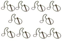 10 x 9.5mm Linch Lynch Pin - 72mm Ring with Chain & S Hook Linchpin