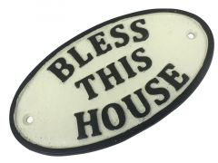 Bless This House - Oval Cast Iron Sign Plaque