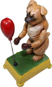Moving Boxing Boxer Dog - Cast Iron Ornament Figure Painted
