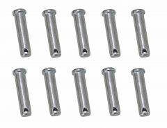 10 Clevis Pins Securing Fasteners for R Clips Split Pins - Dia: 6mm L: 40mm