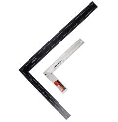 2 Measure Tri Try Set Squares Right Angle - 1 Aluminium 12 inch & 1Black Steel 24 inch