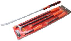 Pry Bars 36 inch Bent Go-Thru Red Grip & 5pc Orange Handle Pry & Heel Set