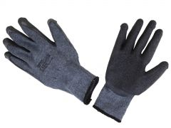24 Pair Work Gloves Grey Black Latex Coated Size 10