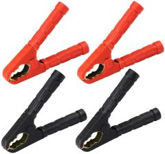 4 Jump Lead Clamps Battery Booster Clips - 2x Red 2x Black 400amp MP340