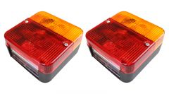 2 Maypole Square Combination Lamps Lights 4 Function Trailer MP3B