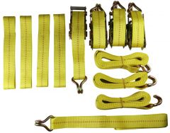 4 pce Vehicle Car 4x4 Recovery Ratchet Tie Down Set Link Strap Trailer Transporter