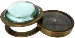 Paperweight Glass Bubble Dome - Compass and Magnifier Glass