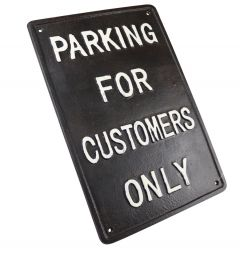Parking For Customers Only - Cast Iron Sign Plaque
