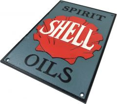 Shell Spirit Oils Sign - Red & Grey Rectangle Cast Iron Sign Plaque