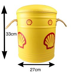 Shell Oil Drum Padded Stool Seat - Storage Bin - Metal Covered - Small