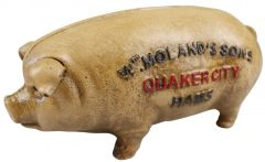 W Molands Sons Quaker City Pig - Brown Cast Iron Money Box Coin Bank