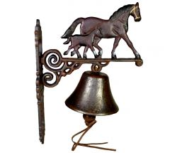 Stable Horse Mare and Foal - Painted Cast Iron Outdoor Garden Bell
