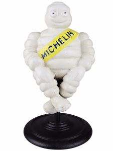 Michelin Man Sat on Stool - Cast Iron Ornament Figure Painted