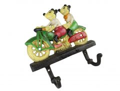 Disney Mickey and Minnie Mouse Motorcycle Coat Rack - Cast Iron 2 Hooks