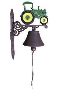 Green and Yellow Tractor - Painted Cast Iron Outdoor Garden Bell