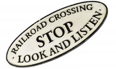 Rail Road Crossing Stop Look and Listen - Cast Iron Train Railway Sign Plaque