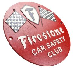 Firestone Car Safety Club Tyre and Rubber Company - Cast Iron Sign Plaque