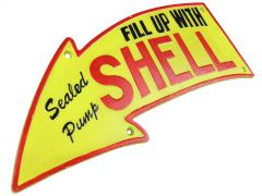 Fill Up With Shell Oil Arrow Logo - Curved 40cm - Cast Iron Sign Plaque