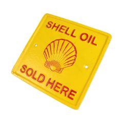 Shell Oil Sold Here Logo - Square Cast Iron Sign Plaque