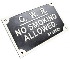Great Western Railway No Smoking Allowed - Cast Iron Train Sign Plaque