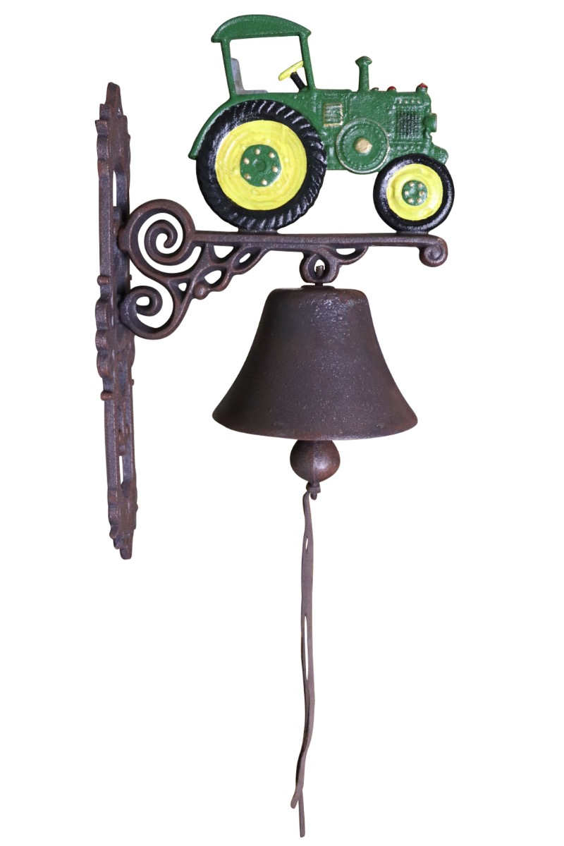 Painted Cast Iron Outdoor Garden Bell Green and Yellow Tractor